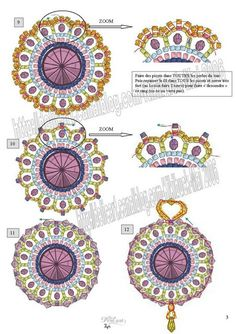 Here is a pattern for  amazing pendant Kiki by Manu.  (Part 4 of 4)  U need:    1 cabochone, button or rivoli 14 mm    14 bicone beads 4 mm    14 round beads 4 mm    seed beads (delica)    1  drop bead  - See more at: http://beadsmagic.com/?p=651#more-651