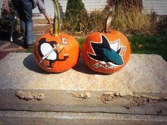 NHL Pittsburgh Penguins & San Jose Sharks Hockey Halloween pumpkins