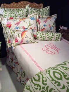 Jane Wilner's custom line of bedding by Dana Gibson