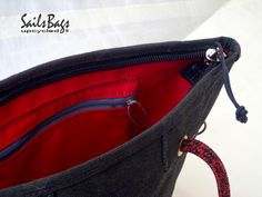 Sails Bags Lady's Bag Black & Red (Height 26cm X Base 19 X 19 cm X Zipper length : 41cm)