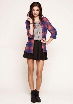 Kirra Convertable Shirt, Doe Crossed Print Tank, and Skater Skirt. http://shop.pacsun.com/Womens/index.cat