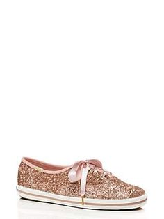 keds for kate spade new york glitter sneakers, rose gold glitter