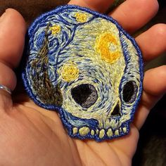 starry night skull iron patch