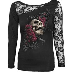 Gothic women's top with lace shoulder and sleeve, soft black cotton, skull and roses print by Spiral Direct.