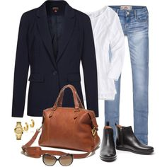 Faded Jeans and a Blue Blazer by fiftynotfrumpy on Polyvore featuring American Eagle Outfitters, ONLY, MANGO, Madewell, GUESS, Tory Burch, Nine West and Hollister Co.