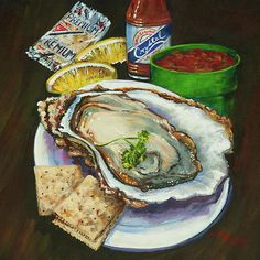 Louisiana Oyster, Raw Oyster and Crystal Hot Sauce, New Orleans Hot Sauce, Seafood Art Painting, New Orleans Food Art - 'Oyster and Crystal' Oyster & Crystal – painting by Dianne Parks © Louisiana Seafood, Louisiana Art, Louisiana Creole, Louisiana Kitchen, Raw Oysters, New Orleans Art, Decoupage, Parks, Thing 1