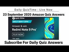 Amazon Daily Quiz Answers | 23 september 2020 | Win Redmi Note 9 Pro | Today Amazon Quiz Answers - YouTube