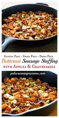 Incredibly delicious grain free Paleo Holiday Stuffing: Butternut Sausage Stuffing with Apples and Cranberries #paleo