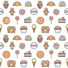 Sweets outline multicolored vector seamless pattern. Minimalistic design. Part one. royalty-free stock vector art