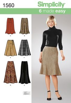 Sew six skirts with one pattern. Misses' trumpet style skirts and flare skirts each can be made to the knee or ankle length. Get creative with Simplicity pattern 1560. Also available as a printable pattern.