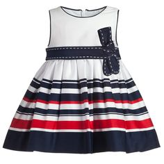 MAYORAL BABY GIRLS JERSEY STRIPE BOW-FRONT DRESS