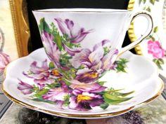SALISBURY TEA CUP AND SAUCER ORCHID FLORAL TEACUP CUP & SAUCER BR | Antiques, Decorative Arts, Ceramics & Porcelain | eBay!