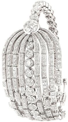 "Chanel ""Fontaine"" bracelet in 18-karat white gold set with a 1.5-carat round-cut diamond, 231 brilliant-cut diamonds for a total weight of 12.7 carats and 37 fancy-cut diamonds for a total weight of 2.6 carats."
