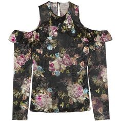 Preen by Thornton Bregazzi Tilly cutout floral-print devoré-chiffon... ($805) ❤ liked on Polyvore featuring tops, preen, black, camisole tops, floral top, flower print shirt, chiffon shirt and flutter-sleeve top
