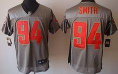 Nike San Francisco 49ers #94 Justin Smith Gray Shadow Elite Jersey