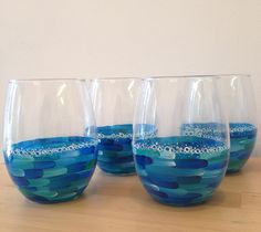 Ocean Stemless Wine Glass  Hand Painted Beach by meghanharron, $15.00