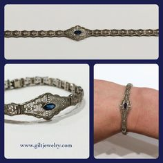The filigree on this c1920 10k white gold bracelet is amazing. The central lab sapphire is a perfect example of Art Deco detail using colored stones. $695. Call to purchase. #giltjewelry #artdeco #filigree #sapphire #lacy #beautiful #greatgatsby #heirloom #fantastic #vintage #vintagejewelry
