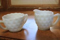 Vintage milk glass small creamer and sugar bowl set by StonesThrowTreasures on Etsy