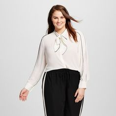 Women's Plus Size Long Sleeve Piped Bow Blouse - Who What Wear ™ : Target
