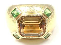 ELIZABETH LOCKE Yellow Sapphire & Tsavorite Garnet Gold Ring .18k Yellow Gold Sapphire & Tsavorite Garnet Ring by Elizabeth Locke. With one large yellow sapphire: 8mm x10mm. And 4 small tsavorites: 4mm x 3mm.