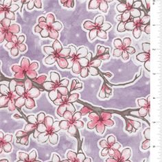"""Pink, White,  Brown Dogwood 5.00 yd - 60 in - Oilcloth Print on Purple Oilcloth Fabric - Face is 100% PVC Back is 65% Polyester 35% Cotton Mesh 45"""" Wide Waterproof and protected with a clear finish Fade, stain, and soil resi..."""