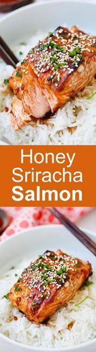Honey Sriracha Salmo Honey Sriracha Salmon - easy spicy sweet...  Honey Sriracha Salmo Honey Sriracha Salmon - easy spicy sweet and savory this glazed salmon recipe is awesome | rasamalaysia.com Recipe : ift.tt/1hGiZgA And My Pinteresting Life | Recipes, Desserts, DIY, Healthy snacks, Cooking tips, Clean eating, ,home dec  ift.tt/2v8iUYW