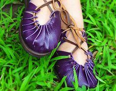 Beautiful Handmade Sexy Purple Leather Sandals