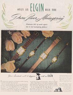 1948 Elgin Watch: Dura Power Mainspring Vintage Print Ad | eBay