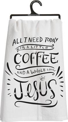 All I Need Is Coffee & Jesus Dish Large Towel   Diva Envys Corner