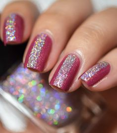 Red and pink holo nail art