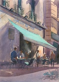 Marseille Café, France I by Keiko Tanabe Watercolor ~ 11 1/2 x 8 1/4 inches (29 x 21 cm)