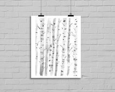 Winter Birch Trees, an original illustration by Littlecatdraw. ★ This is an archival print of my original illustration, printed with vibrant