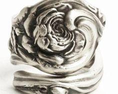 Rose Ring, Flower Ring, Spoon Ring Sterling Silver, Silver Rosebud, Gardener Gift, Swirl Ring, Nature Inspired, Adjustable Ring Size (544)