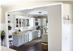 White appliances and grey cabinets Painting Kitchen Cabinets, Kitchen Paint, Kitchen Redo, Kitchen Remodel, Kitchen Ideas, Kitchen Colors, Kitchen Facelift, Kitchen Baskets, Real Kitchen
