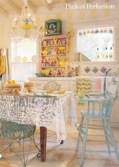 Carol Bolton's summer house kitchen. This pic has been a fave for years!  Makes me so happy!