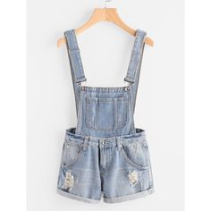Distress Cuffed Denim Dungaree Shorts ❤ liked on Polyvore featuring shorts, ripped shorts, destroyed shorts, distressed shorts, torn shorts and dungaree shorts