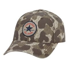 Converse 'Core' Twill Ball Cap ($25) ❤ liked on Polyvore featuring men's fashion, men's accessories, men's hats and converse khaki camo