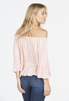 Off Shoulder Ruffled Top Kleidung in Blush - günstig kaufen bei JustFab