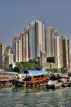 Junks and high rise blocks - Hong Kong