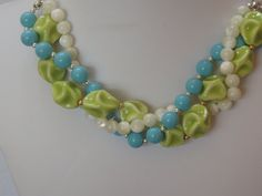 Chunky Twisted Ceramic and Mother of Pearl by rosepetalsjewelry, $23.00