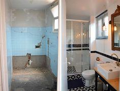 La salle de bains avant et après. La fenêtre a également été remplacée. © Laura Benitta