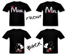 Disney Mickey and Minnie kissing on the back Matching Couple Outfits, Matching Couples, Matching Shirts, Disney Style, Disney Love, Disney Mickey, Mickey And Minnie Kissing, Disney Couple Shirts, Disney Honeymoon