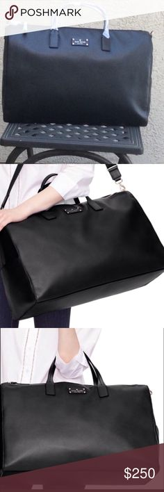 """Kate Spade ALL LEATHER Duffle Travel Weekender PRICE⬇️$175 on 11/27, I will gradually increase it each day until It reaches the original list price.. This bag is NOT from an outlet, it is from a New York retail store. Original Price: $740 Remington Place Filipa Beautiful black pebbled leather. Total length of the adjustable shoulder strap: 41""""  Exterior has 2 slide-in pockets on each end.  Drop length of handles 4.7""""  This bag measures well under the FAA dimension limit for a carry-on item…"""