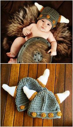 Crochet Viking Hat Patterns Baby To Adult Sizes For Everyone Newborn Crochet Patterns, Crochet Baby Hats, Hat Patterns, Crochet Beanie, Crochet Gifts, Cute Crochet, Crochet For Kids, Crochet Yarn, Baby Knitting