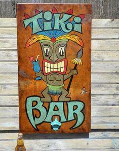 -Heres another ORIGINAL piece by folk artist / sign painter Mark Z. or Zeke. This Tiki Bar sign is 17 by 29 inches & Tiki Bar Signs, Tiki Bar Decor, Pool Bar, Tiki Maske, Hawaian Party, Tiki Art, Tiki Tiki, Hawaii, Tiki Lounge