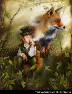 The Woodland Leprechaun...5x7 Matted Print... Cute Little Boy Leprechaun and Fox Fantasy Art. $15.00, via Etsy.