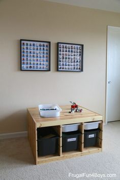 Activities by Age Archives - Frugal Fun For Boys and Girls Display Shelves Ikea, Lego Shelves, Lego Storage, Lego Play Table, Mini Figure Display, Ikea Hack Kids, Lego Minifigure Display, Ikea Frames, Lego Room