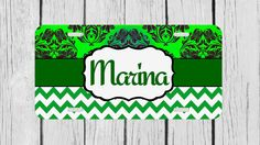 Personalized Monogrammed Chevron Damask Green by TopCraftCase