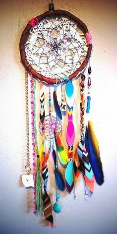 This dream catcher is a nice art piece for a room. It gives color to a room and something to talk about. I love dream catchers I think they are unique and give a nice story to talk about. Gives kids a nice little tale to think on and maybe even help them feel protected at night. It could be use for lots of different scenarios.