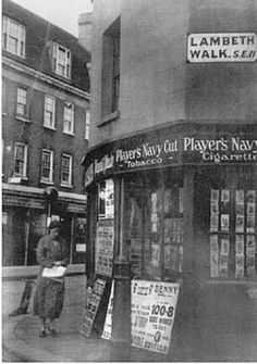 Lambeth Walk at the junction with Black Prince Road London History, British History, Uk History, Family History, East End London, South London, Vintage London, Old London, Old Pictures